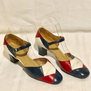 Vtg. 60's Red White & Blue Heeled Shoes-July 4th!